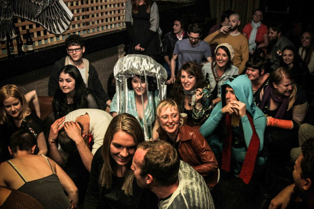 Fun Machine's ecstatic audience at The Critical Animalia Spirit Animal Party